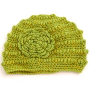 Flower Knit Beanie - Green